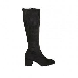 Bota para mujer con cremallera en tejido elastico y gamuza negra tacon 5 - Tallas disponibles:  32, 33, 34, 42, 43, 44, 45