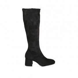 Woman's boot with zipper in black suede and elastic material heel 5