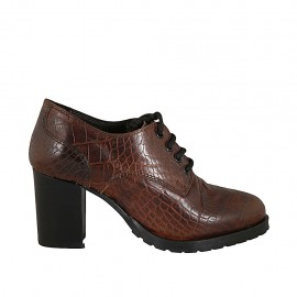 Woman's laced derby shoe in brown printed leather heel 7 - Available sizes:  32, 34, 42, 43, 44