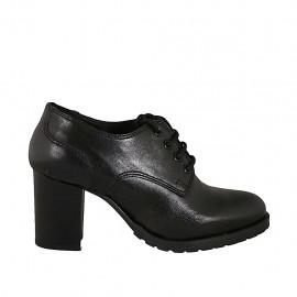 Chaussure à lacets derby pour femmes en cuir noir avec talon 7 - Pointures disponibles:  32, 33, 34, 43, 44, 45