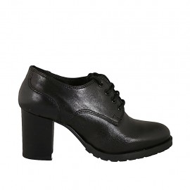 Woman's derby laced shoe in black leather heel 7 - Available sizes:  32, 33, 34, 43, 44, 45