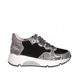 Zapato deportivo con cordones y plantilla extraible para mujer en piel estampada gris y bronce y gamuza negra cuña 4 - Tallas disponibles:  33, 42, 43, 44