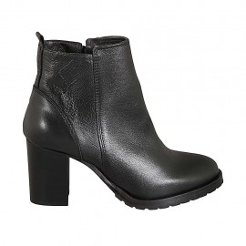 Woman's ankle boot in black leather with zipper heel 7 - Available sizes:  32, 33, 34, 42, 43, 44, 45