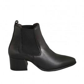 Bottines à bout pointu pour femmes avec elastiques en cuir noir talon 5 - Pointures disponibles:  33, 34, 42, 43, 44, 45