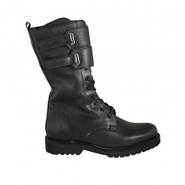 Woman's laced combat style ankle boot with zipper and velcro straps in black leather heel 3 - Available sizes:  33, 43