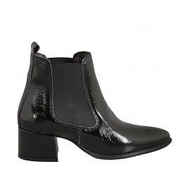 Botines a punta para mujer con elasticos en charol negro tacon 5 - Tallas disponibles:  33, 34, 43, 44, 45