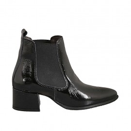Woman's pointy ankle boot with elastic bands in black patent leather heel 5 - Available sizes:  34, 43, 44, 45