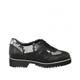 Zapato para mujer con cordones y plantilla extraible en piel negra y piel imprimida negra y beis tacon 3 - Tallas disponibles:  32, 33, 34, 42, 43, 44, 45