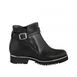 Woman's ankle boot in black leather with buckle and zipper heel 3 - Available sizes:  32, 33, 34, 42, 43, 44, 45