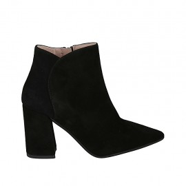 Woman's pointy ankle boot with zipper in black suede block heel 8 - Available sizes:  32, 33, 34, 42, 43, 45