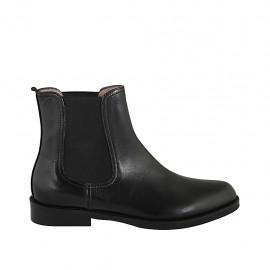 Bottines pour femmes avec deux élastiques en cuir noir talon 3 - Pointures disponibles:  32, 33, 34, 42, 43, 44, 45