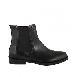 Woman's ankle boot with two elastic bands in black leather heel 3 - Available sizes:  32, 33, 34, 42, 43, 44, 45