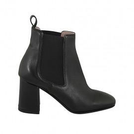 Bottines pour femmes en cuir noir avec deux élastiques talon 7 - Pointures disponibles:  32, 33, 34, 42, 43, 44, 45