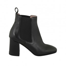 Woman's ankle boot in black leather with two elastic bands heel 7 - Available sizes:  32, 33, 34, 42, 43, 44, 45