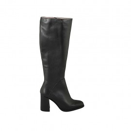 Woman's boot with zipper in black leather heel 8 - Available sizes:  32, 33, 34, 42, 43, 44