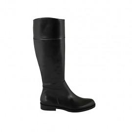 Botas para mujer en piel de color negro con cremallera interna tacon 2 - Tallas disponibles:  32, 33, 34, 42, 43, 44, 45