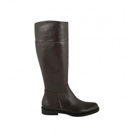 Woman's boot with zipper in brown leather heel 2 - Available sizes:  32, 33, 34, 43, 44, 45
