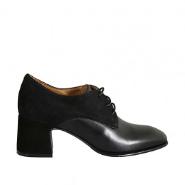 Woman's laced derby shoe in black suede and leather heel 6