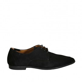Woman's laced derby shoe with elastic bands in black suede heel 1