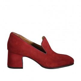 Woman's mocassin in red suede heel 6
