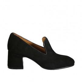 Woman's mocassin in black suede heel 6
