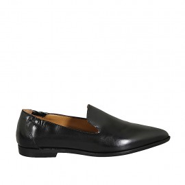 Woman's pointy loafer with elastic bands in black leather heel 1