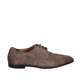 Woman's laced derby shoe with elastic bands in taupe suede heel 1
