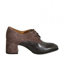 Woman's laced derby shoe in taupe suede and brown leather heel 6
