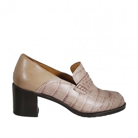 Woman's mocassin in beige leather and printed leather heel 6