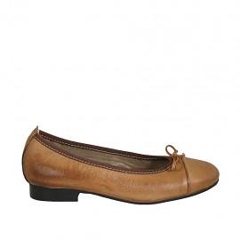 Ballerine avec noeud et bout droit pour femmes en cuir marron clair talon 2 - Pointures disponibles:  33, 34, 42, 43, 44, 45
