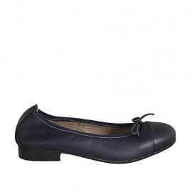 Ballerine avec noeud et bout droit pour femmes en cuir bleu talon 2 - Pointures disponibles:  33, 34, 42, 43, 44, 45