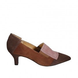 Woman's shoe with elastics in tan brown, rose and taupe suede heel 5