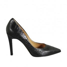 Woman's pump in black printed leather heel 9