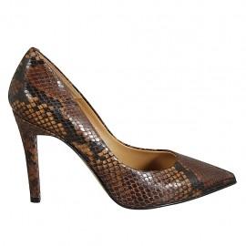 Women's pump shoe in brown printed leather heel 9