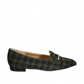Woman's pointy loafer in plaid green and black suede heel 1