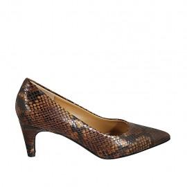 Women's pump shoe in brown printed leather heel 6