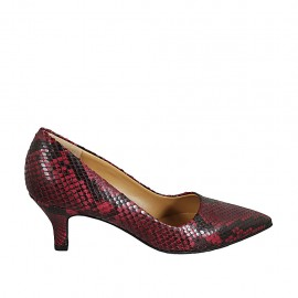 Women's pump shoe in black and red printed leather heel 5
