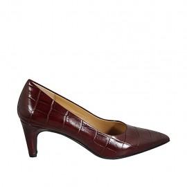 Women's pump shoe in maroon printed leather heel 6
