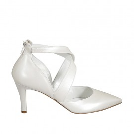 Woman's pump in pearled ivory leather with backside zipper and crossed straps heel 7