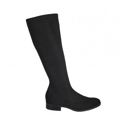Woman's boot in black elastic fabric heel 3