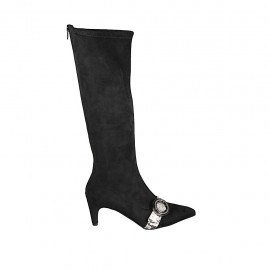 Woman's pointy boot with zipper and buckle in black elastic suede and black and white printed leather heel 6