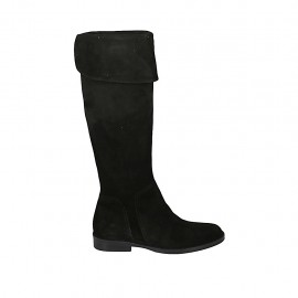 Woman's boot with turnover and zipper in black suede heel 3