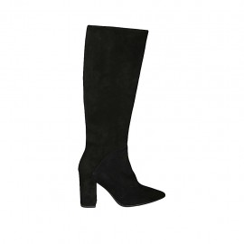 Woman's pointy boot with zipper in black suede heel 8