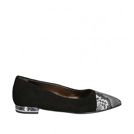 Woman's pointy ballerina shoe in back suede and black and white printed leather heel 1