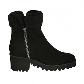 Woman's ankle boot with zippers in black suede heel 5 - Available sizes:  31, 32, 33, 34, 42, 43, 44, 45, 46, 47