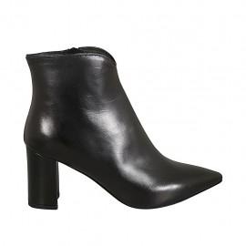 Botines puntiagudos para mujer con cremallera en piel negra tacon 7 - Tallas disponibles:  31, 32, 33, 34, 42, 43, 45, 46, 47