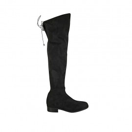 Woman's boot with back strap in black elastic suede heel 3