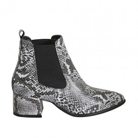 Woman's pointy ankle boot with elastic bands in black and grey printed leather heel 5