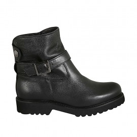 Woman's ankle boot in black leather with zipper, buckle and snap button heel 3 - Available sizes:  33, 34, 42, 43, 45