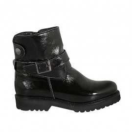 Woman's ankle boot in black patent leather with zipper, buckle and snap button heel 3 - Available sizes:  33, 42, 43, 44, 45